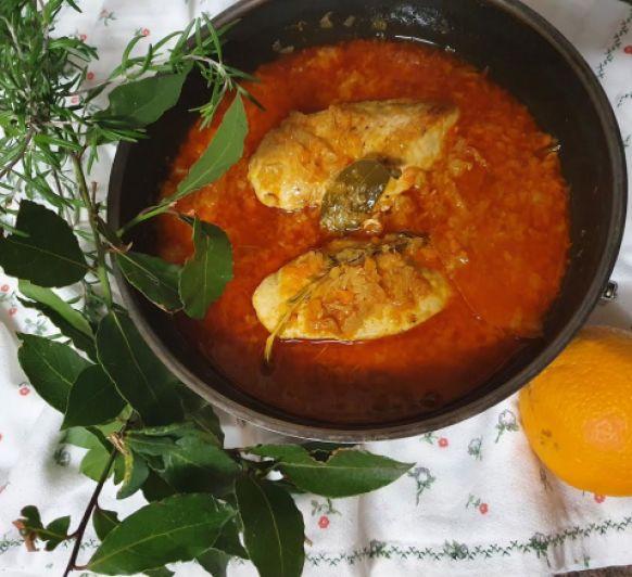 Pechuga de Pollo en Escabeche de Naranja